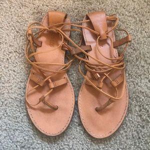 tan boardwalk leather lace up gladiator sandals